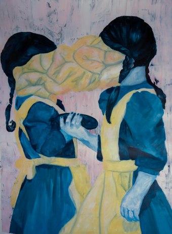 Corn girls, 2015 - acrylique sur papier aquarelle, 160 cm x 120 cm