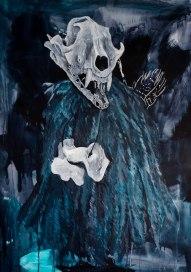 Chaman, 2014 acrylique et craie grasse sur papier aquarelle, 110 x 150 cm