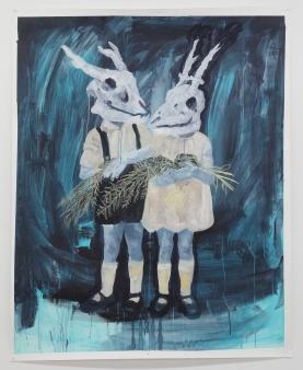 Les fougères, craie grasse et acrylique sur papier toilé, 110x150 cm, 2016