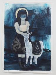Cabra, craie grasse et acrylique sur papier toilé, 100x150 cm, 2016