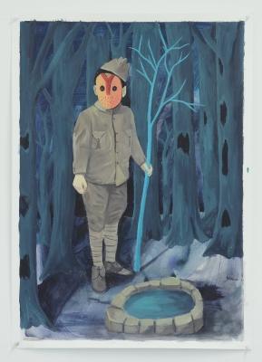 Le puit, acrylique sur papier, 50x70 cm, 2016