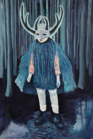 peinture marie pierre brunel, garçon, masque, costume, carnaval, bois