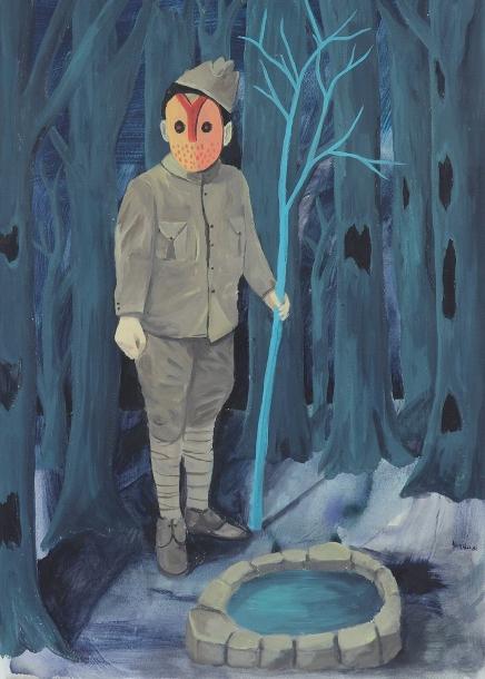 peinture marie pierre brunel garçon, masque, bois