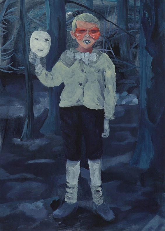 peinture marie pierre brunel, garçon, masque, bois