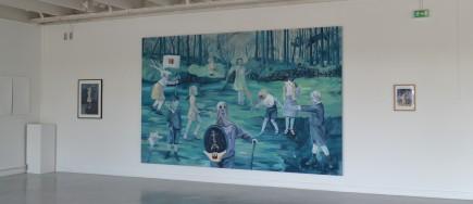 Les batailles nocturnes, 400 x 250 cm, acrylique et broderies sur toile, 2018. Vue de l'exposition Shellebrity, galerie Julio Gonzales, Arcueil (94)