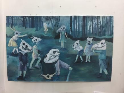 Peinture préparatoire, les batailles nocturnes, acrylique sur papier, 180x110 cm , 2017