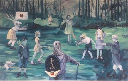Les batailles nocturnes, acrylique et broderies sur toile, 400x250 cm 2018